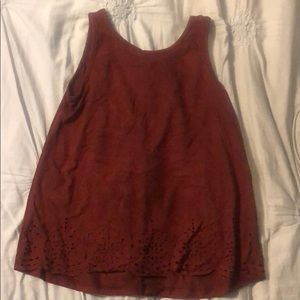Suede tank top with cutouts
